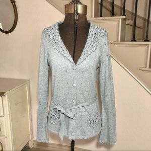 Banana republic grey angora cardigan crochet